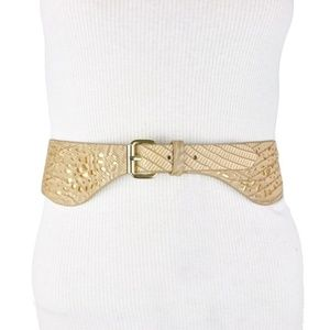 BCBG Waist Belt Beige Gold Faux Leather Peplum